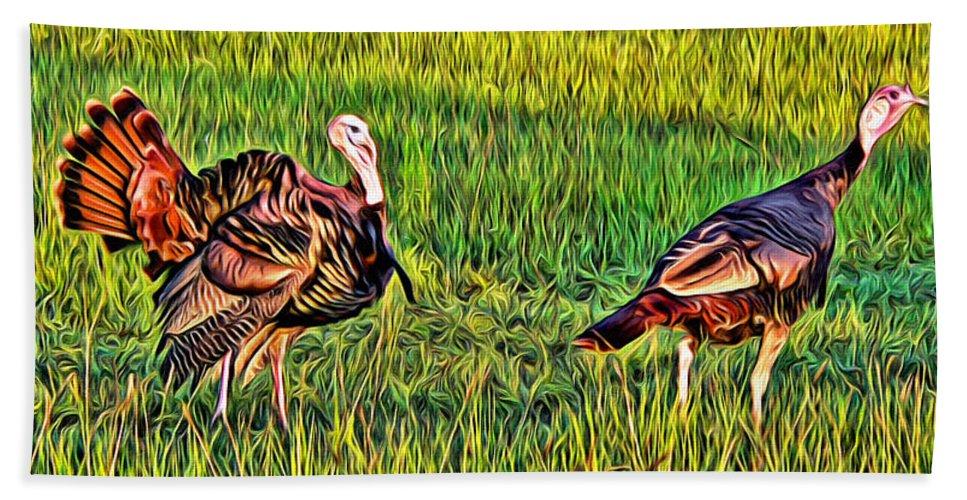 Turkey Fowl Pair Grass Florida Alicegipsonphotographs Bath Sheet featuring the photograph Turkey Pair by Alice Gipson