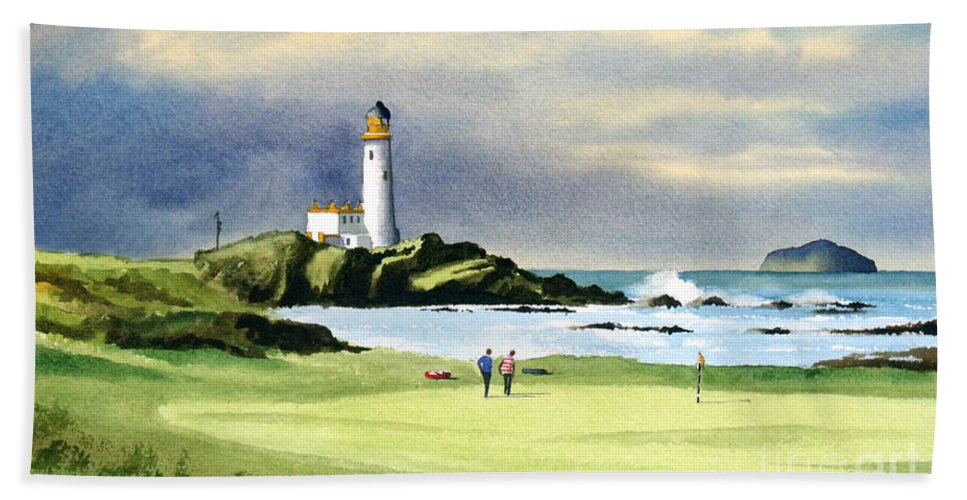 Turnberry Golf Course Bath Towel featuring the painting Turnberry Golf Course Scotland 10th Green by Bill Holkham