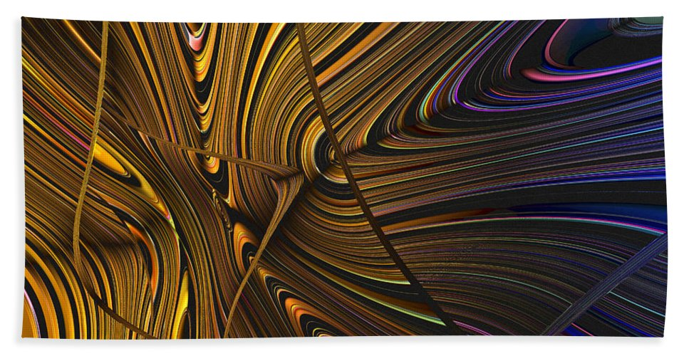 Abstract Bath Sheet featuring the digital art Turning Cold by Judi Suni Hall