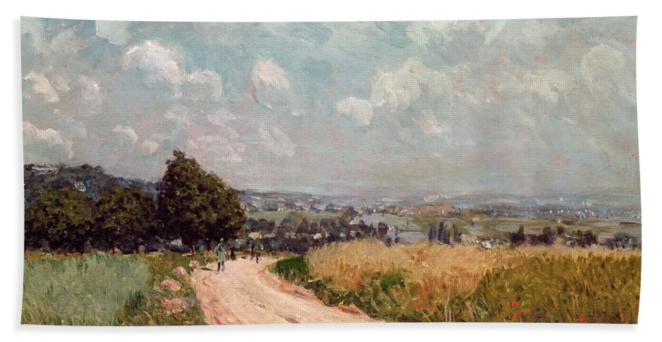 Turning Road Bath Sheet featuring the painting Turning Road by Alfred Sisley