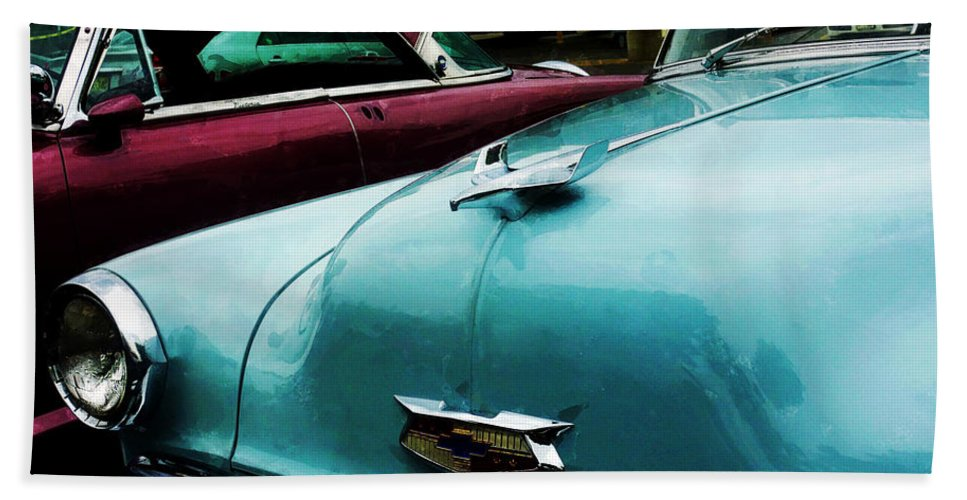 Car Bath Sheet featuring the photograph Turquoise Bel Air by Susan Savad