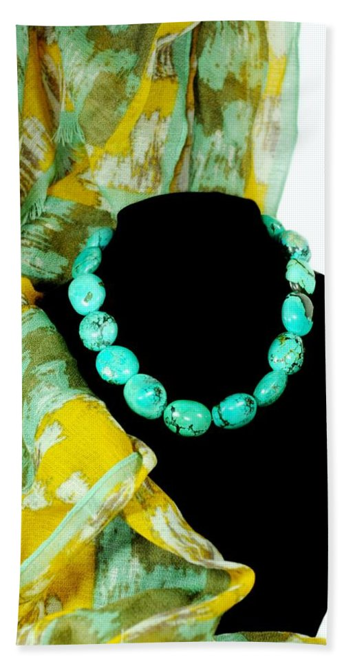 Turquoise Necklace Hand Towel featuring the photograph Turquoise Fashion by Diana Angstadt