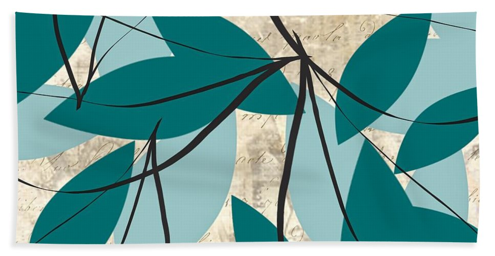 Turquoise Hand Towel featuring the painting Turquoise Leaves by Lourry Legarde