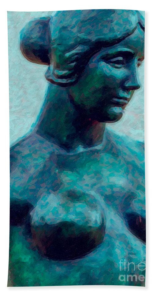 Statue Bath Sheet featuring the photograph Turquoise Maiden - Digital Art by Kathleen K Parker