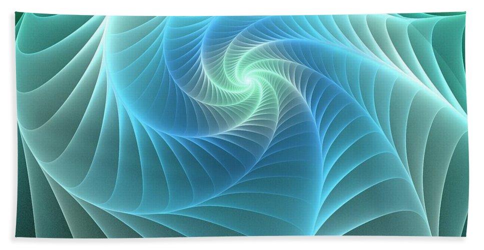Web Hand Towel featuring the digital art Turquoise Web by Anastasiya Malakhova