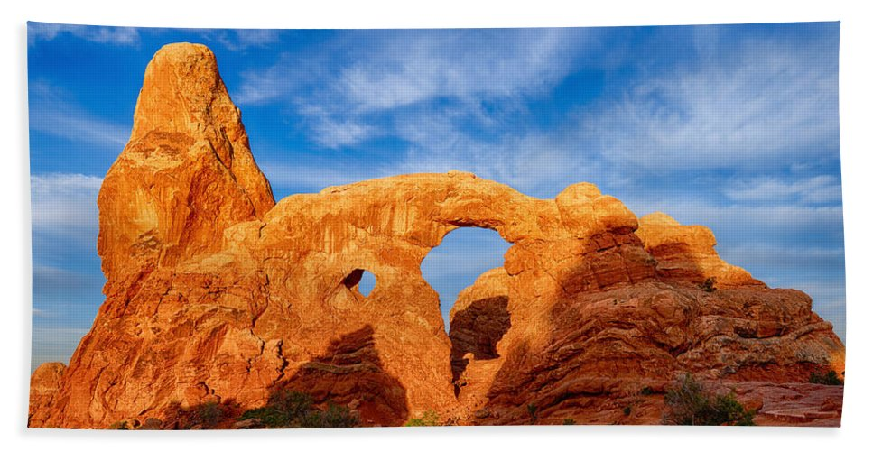 Turret Arch Bath Sheet featuring the photograph Turret Arch by Greg Norrell