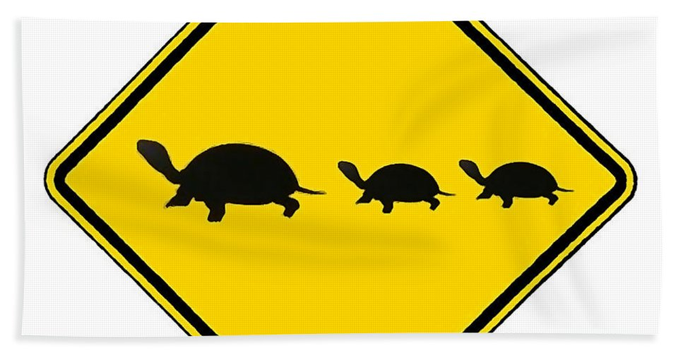Turtle Crossing Sign Hand Towel featuring the digital art Turtle Crossing Sign by Marvin Blaine