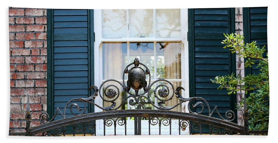 Southern Home Hand Towel featuring the photograph Turtle Gate by Carol Groenen