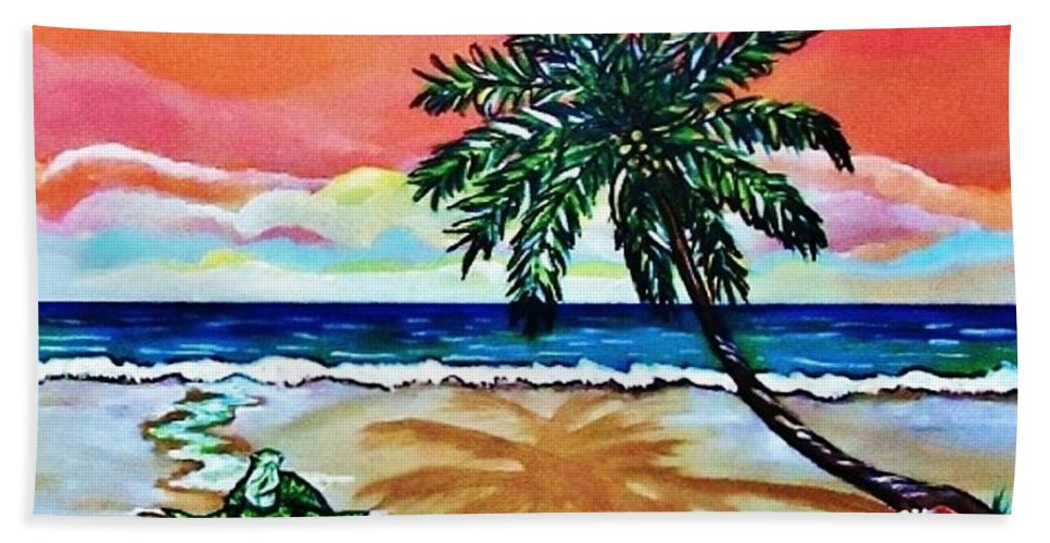 Turtle On Beach In Key West Hand Towel featuring the painting Turtle On Beach by Lois  Rivera