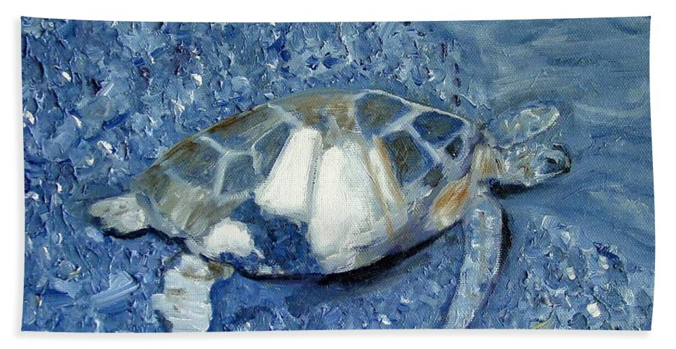 Turtle Bath Towel featuring the painting Turtle On Black Sand Beach by Laurie Morgan