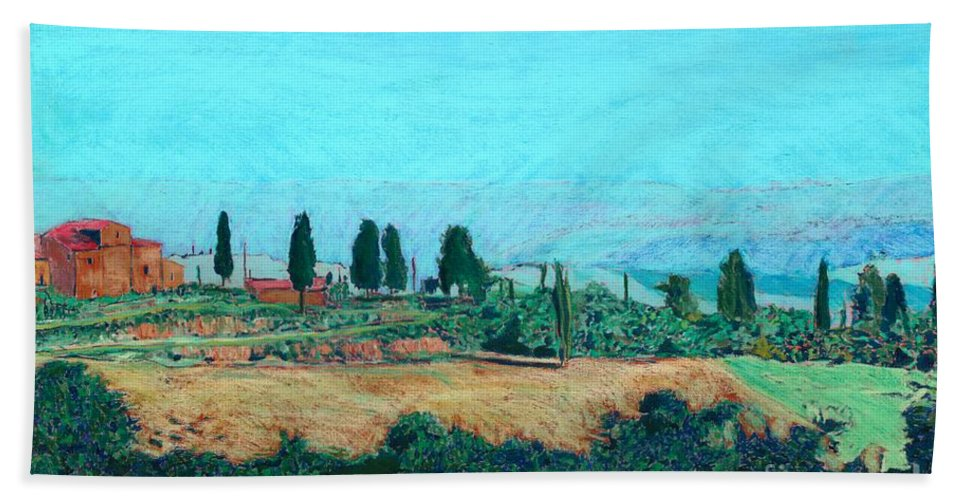 Landscape Bath Sheet featuring the painting Tuscan Farm by Allan P Friedlander
