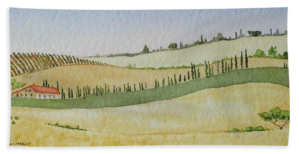 Italy Bath Sheet featuring the painting Tuscan Hillside Four by Mary Ellen Mueller Legault