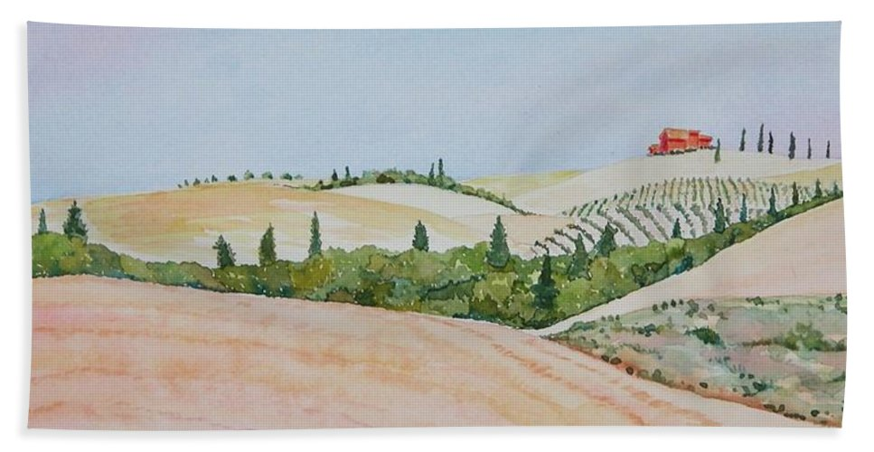 Landscape Bath Towel featuring the painting Tuscan Hillside One by Mary Ellen Mueller Legault