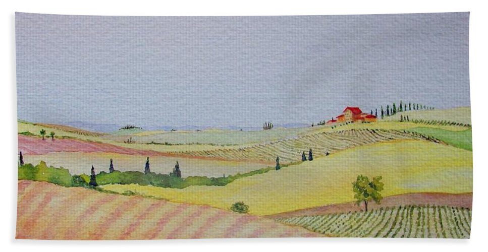 Watercolor Bath Sheet featuring the painting Tuscan Hillside Three by Mary Ellen Mueller Legault