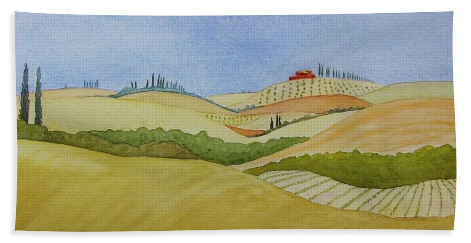 Italy Bath Sheet featuring the painting Tuscan Hillside Two by Mary Ellen Mueller Legault