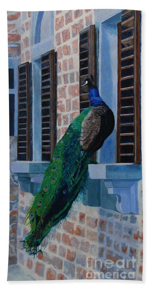 Acrylic Bath Sheet featuring the painting Tuscan Mascot by Lynne Reichhart