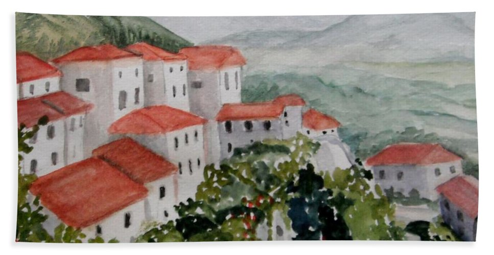 Tuscany Hand Towel featuring the painting Tuscan Roof Tops by Dolores Pettit