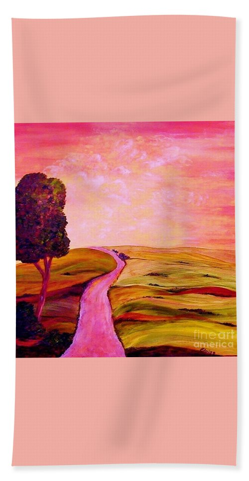 Tuscany Bath Sheet featuring the painting Tuscan Skies ... An Impressionist View by Eloise Schneider