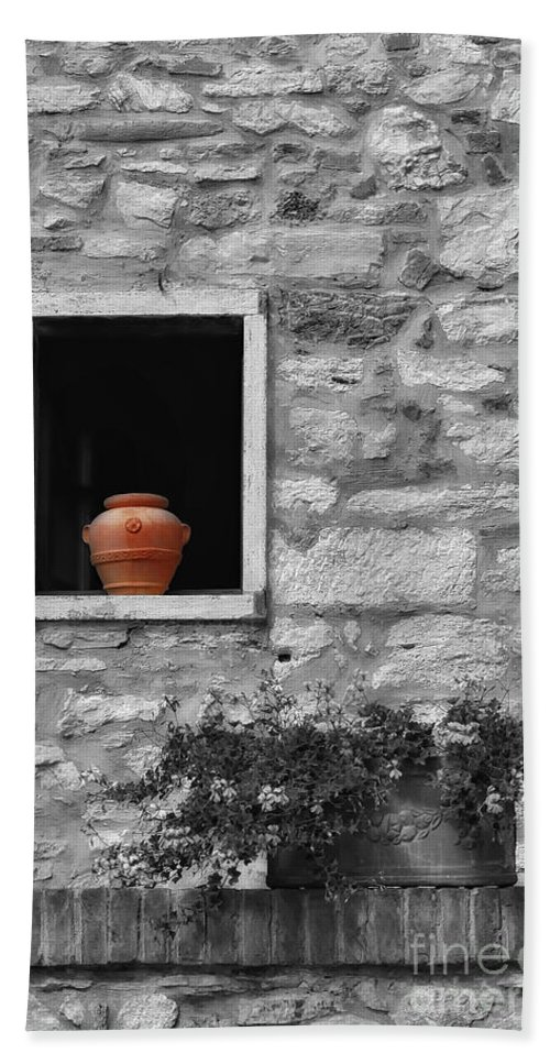 Tuscany Hand Towel featuring the photograph Tuscan Window And Pot Bw And Color by Mike Nellums