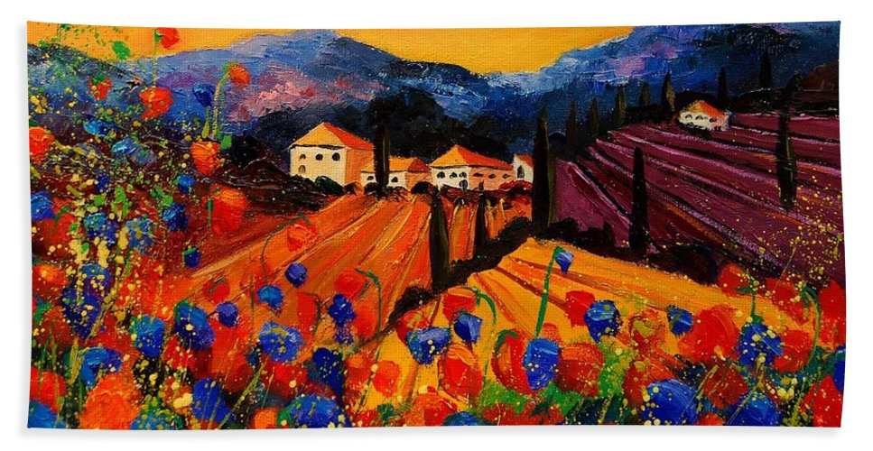 Poppies Hand Towel featuring the painting Tuscany Poppies by Pol Ledent