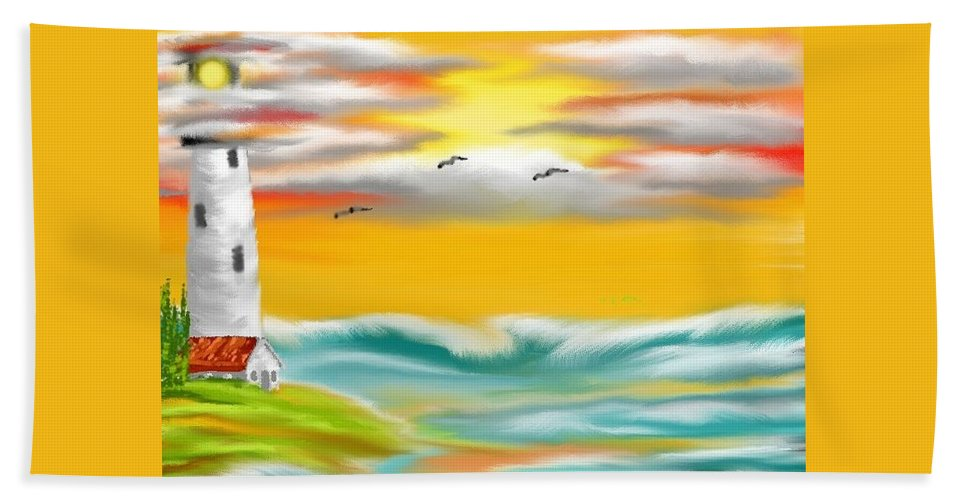 Tuscany Hand Towel featuring the painting Tuscany Sea by Kinepela Smith