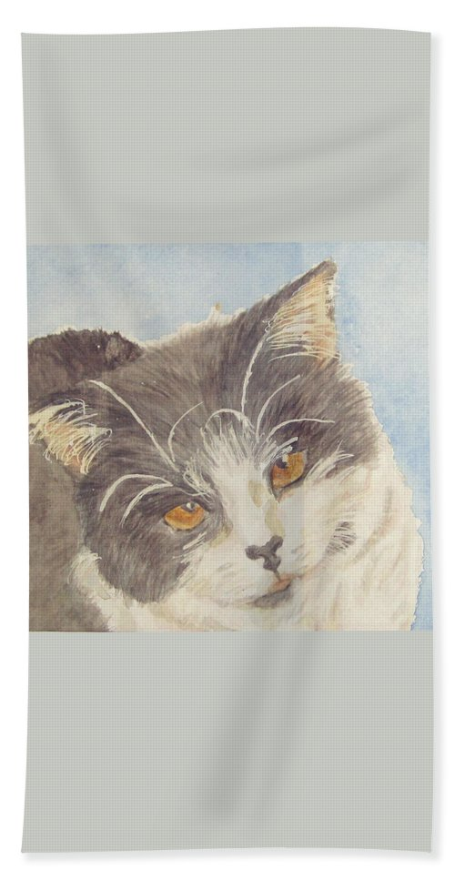 Tuxedo Cat Hand Towel featuring the painting Tux by Carol Luzzi