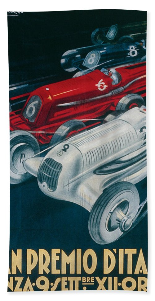 Motor Racing Bath Towel featuring the painting Twelfth Italian Grand Prix At Monza by Plinio Codognato