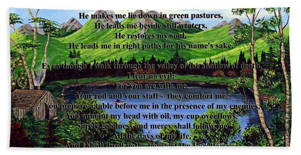 Twenty Third Psalm Hand Towel featuring the painting Twenty-third Psalm And Twin Ponds by Barbara Griffin