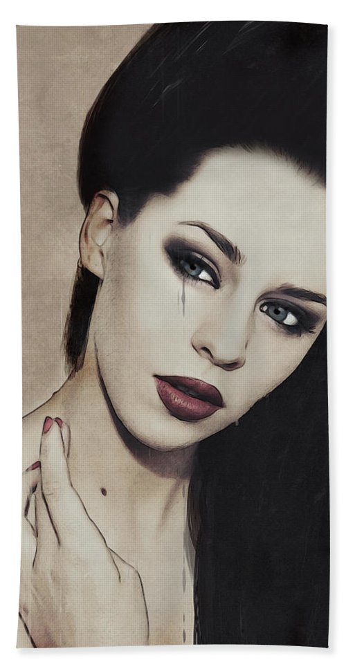 Vampire Hand Towel featuring the digital art Twice Shy by Galen Valle