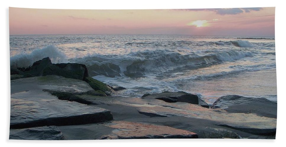 Twilight Hand Towel featuring the photograph Twilight At Cape May In October by Eric Schiabor