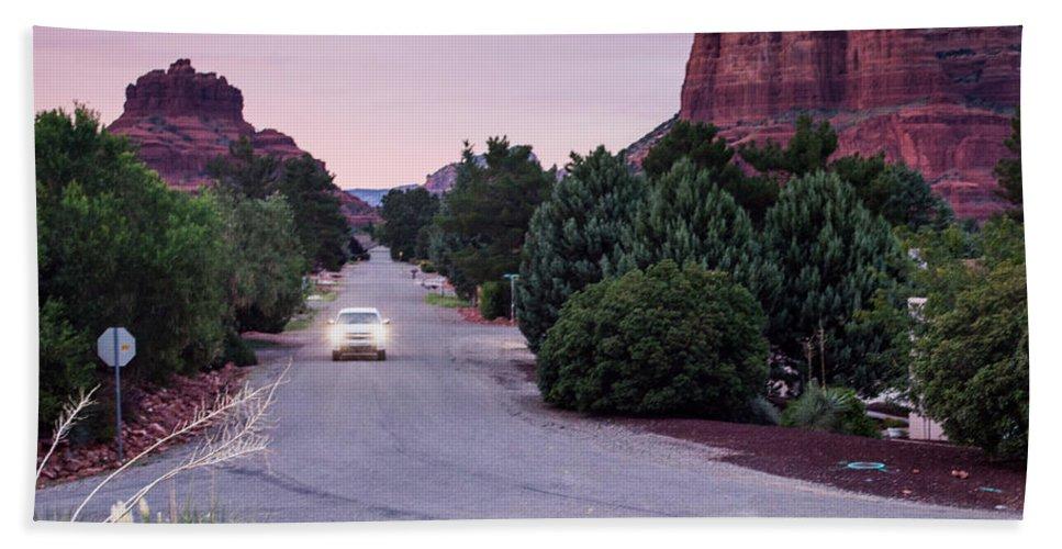 Sedona Bath Sheet featuring the photograph Twilight Drive by Jamie Heeke
