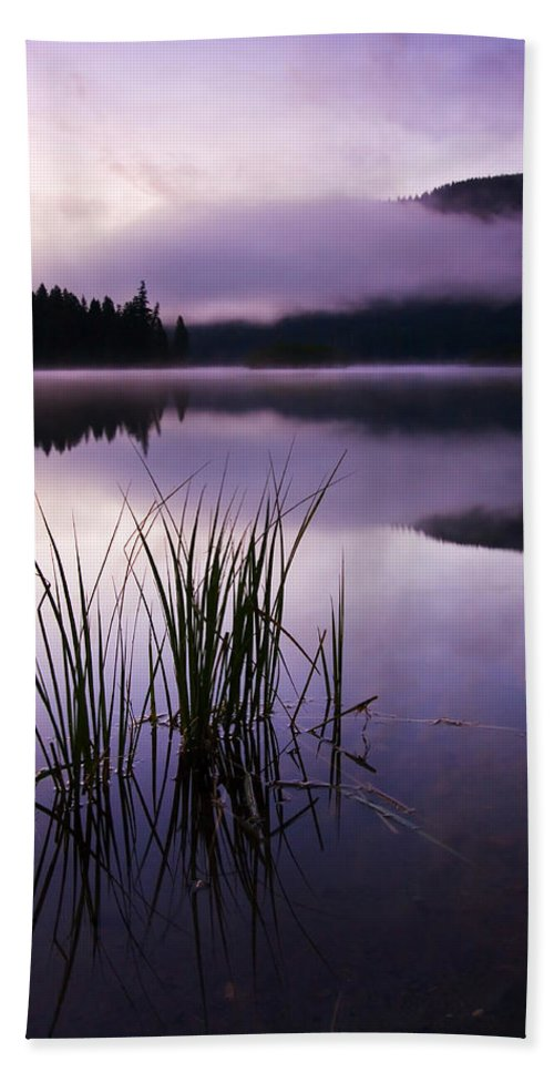Lake Hand Towel featuring the photograph Twilight Glow by Mike Dawson
