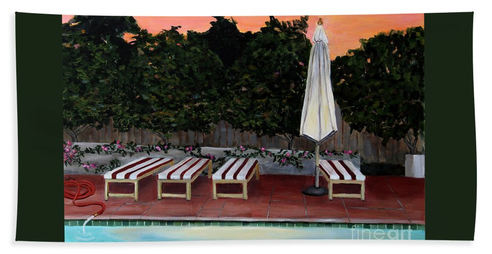 Dusk Bath Sheet featuring the painting Twilight by Linda Queally