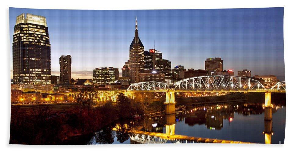 Nashville Hand Towel featuring the photograph Twilight Over Nashville Tennessee by Brian Jannsen
