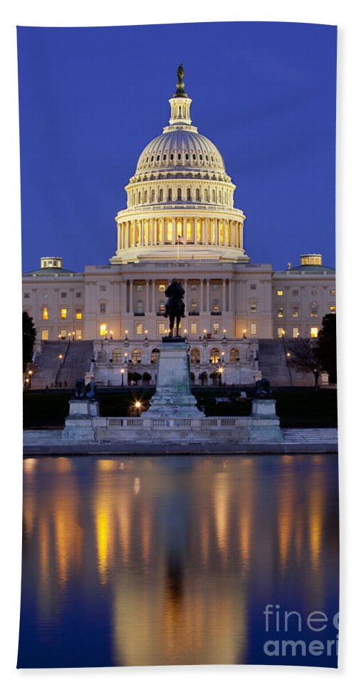 Capital Hand Towel featuring the photograph Twilight Over Us Capitol by Brian Jannsen
