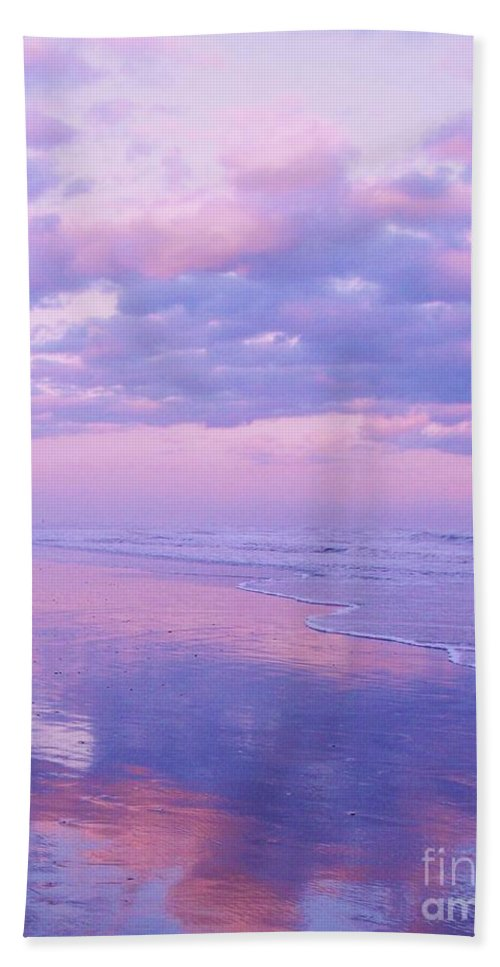 Twilight Hand Towel featuring the photograph Twilight Reflection Cape May by Eric Schiabor