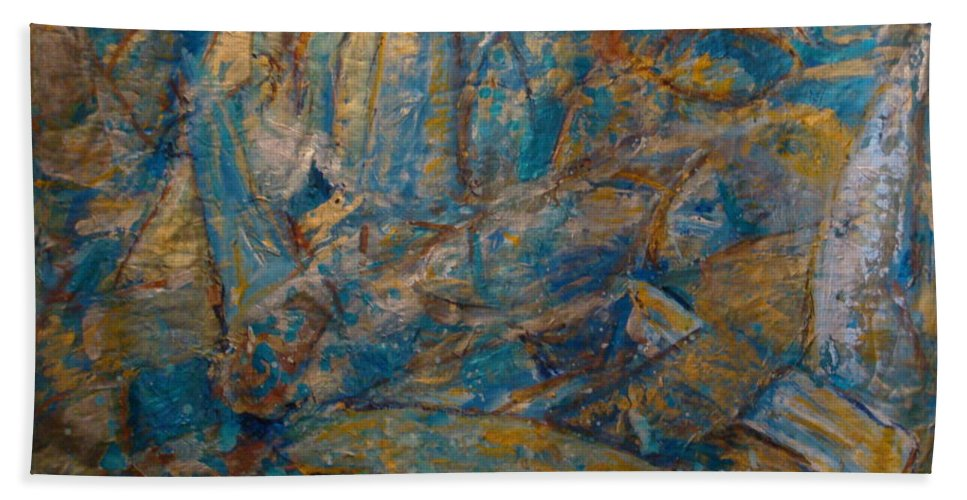 Sea Scape Hand Towel featuring the painting Twilight Sails by Fereshteh Stoecklein