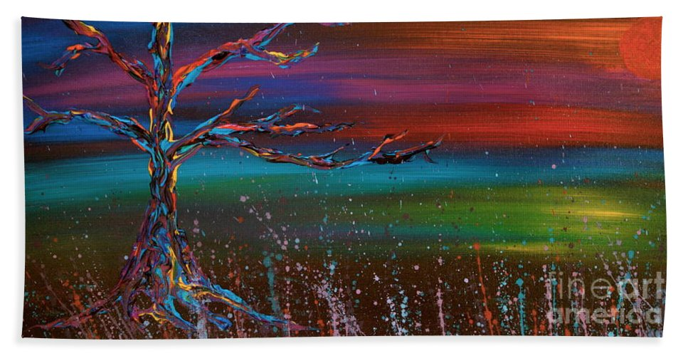 Tree Hand Towel featuring the painting Twilight Sun by Jacqueline Athmann