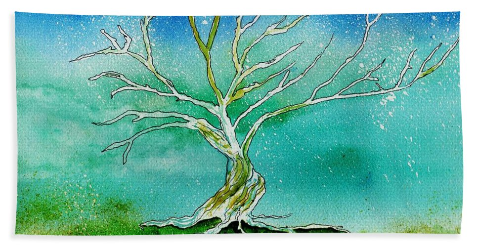 Landscape Hand Towel featuring the painting Twilight Tree by Brenda Owen
