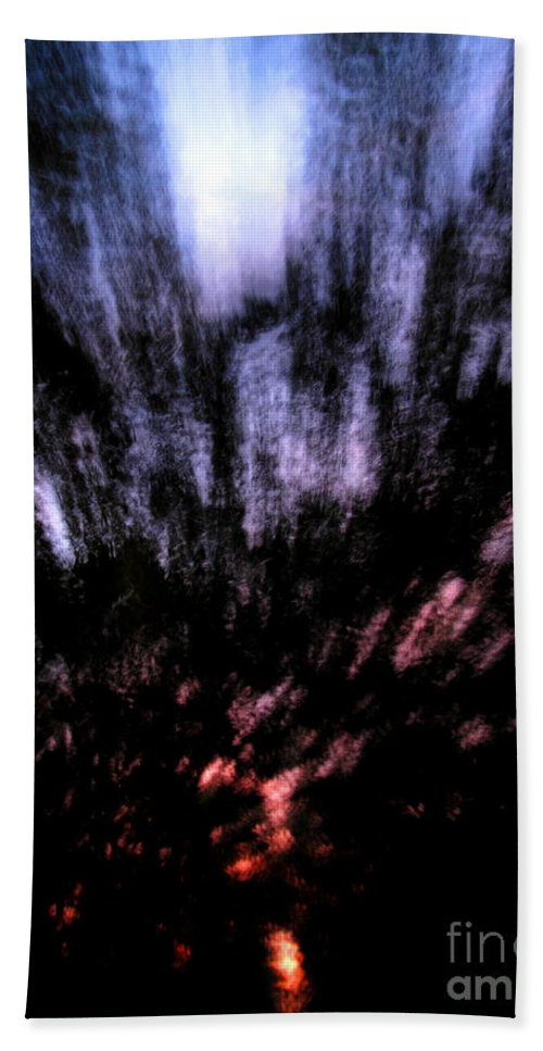 Abstract Nature Photography Twilight Sky Sunset Tree Silhouette Twilight Forest Silhouette Abstract Landscapes Abstract Arbor Images Arborscapes Treescapes Bath Sheet featuring the photograph Twilight Tree Travel by Joshua Bales