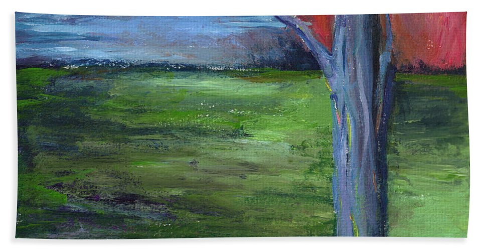 Woodland Hand Towel featuring the painting Twilight's Kiss by Christine Cobden