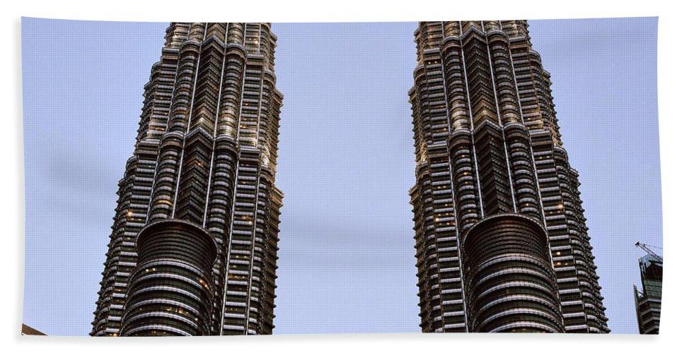 Petronas Towers Bath Sheet featuring the photograph Twilit Petronas by Shaun Higson