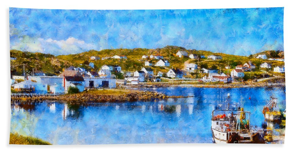 Twillingate Hand Towel featuring the photograph Twillingate In Newfoundland by Les Palenik