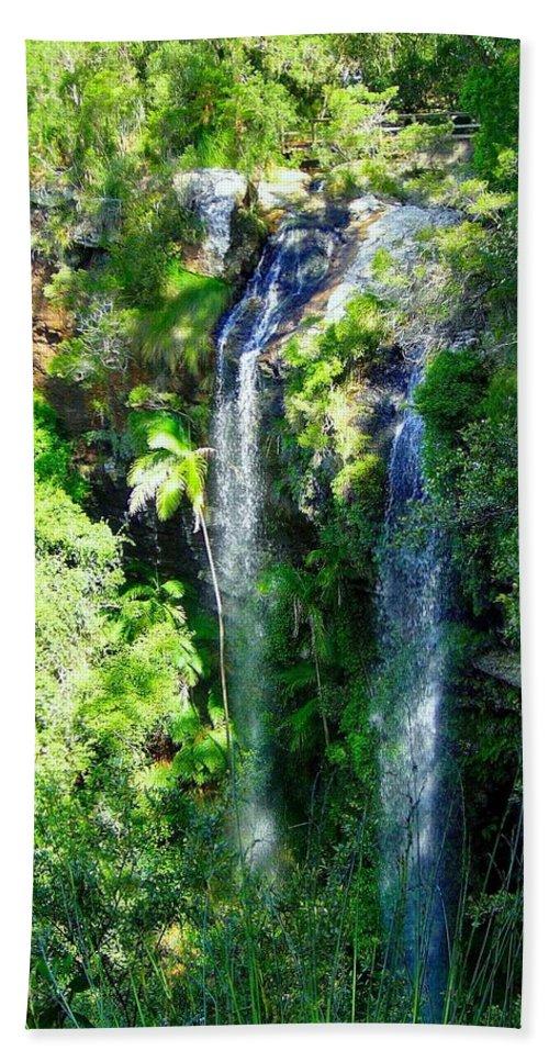 Twin Falls Hand Towel featuring the photograph Twin Falls by Darren Burton