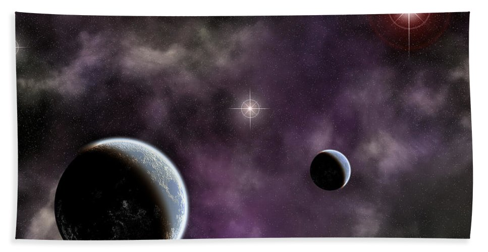 Space Bath Sheet featuring the digital art Twin Planets With Nebula by Antony McAulay