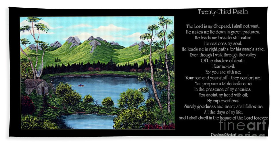 Twenty Third Psalm Hand Towel featuring the painting Twin Ponds And 23 Psalm On Black Horizontal by Barbara Griffin