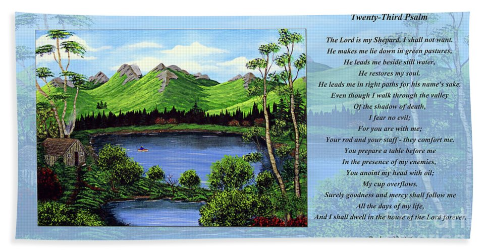 Twenty Third Psalm Hand Towel featuring the painting Twin Ponds And 23 Psalm On Blue Horizontal by Barbara Griffin