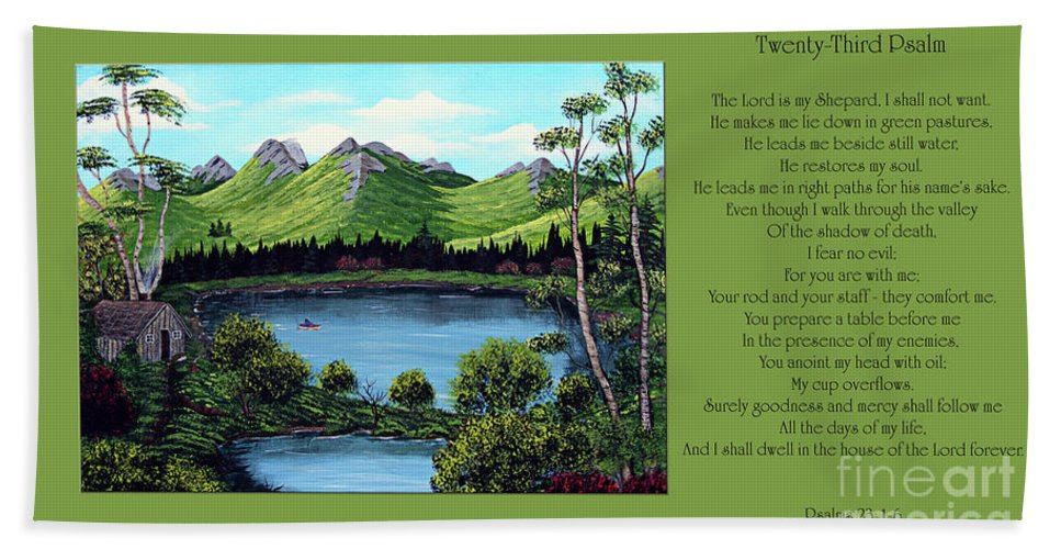 Twenty Third Psalm Hand Towel featuring the painting Twin Ponds And 23 Psalm On Green Horizontal by Barbara Griffin