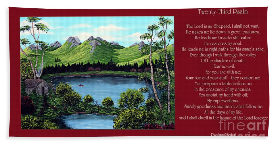 Twenty Third Psalm Hand Towel featuring the painting Twin Ponds And 23 Psalm On Red Horizontal by Barbara Griffin