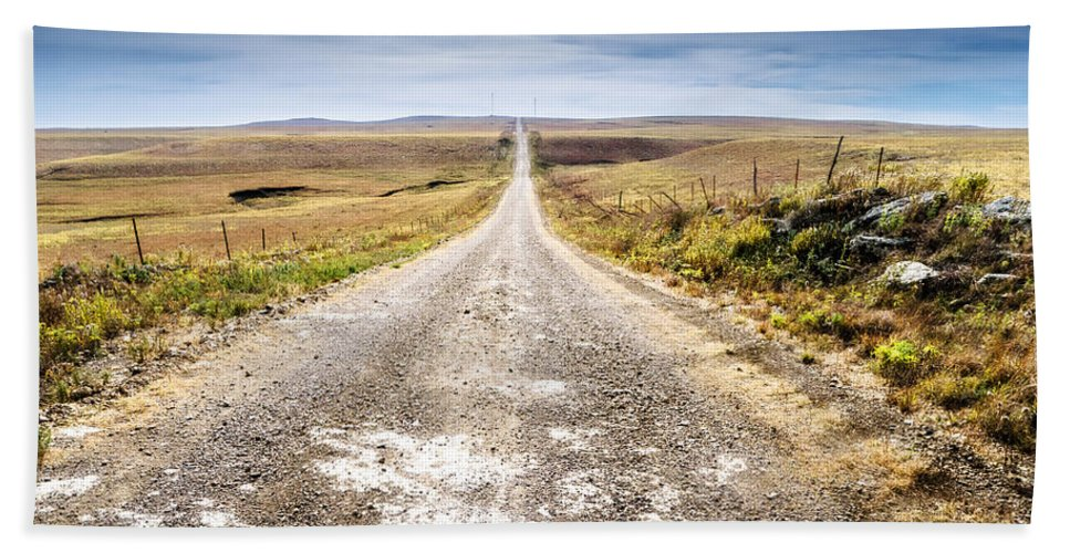 Flint Hills Bath Sheet featuring the photograph Twin Towers Road by Eric Benjamin